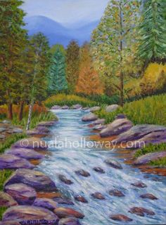 """Autumn Stream"" by Nuala Holloway - Oil on Canvas #Landscape #Autumn #Stream #IrishArt"
