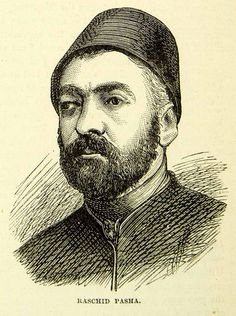 1883 Wood Engraving Mustafa Reshid Pasha Portrait Russo Turkish War XEGA3 - Period Paper