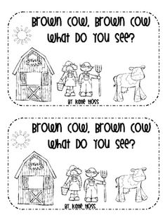 """Brown Cow, Brown Cow, What Do You See?"" (12 pg emergent reader; teaches literacy, vocabulary words, and color words)"