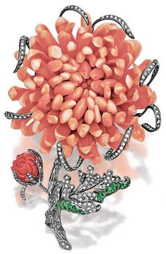 CORAL, TSAVORITE GARNET AND DIAMOND BROOCH   The brooch designed as a Chrysanthemum flower, the petals finely carved in coral, width and thickness measuring approximately 60.90 x 29.42 mm respectively, accented by ribbons and leaves pavé-set with brilliant-cut diamonds, enhanced by tsavorite garnets, and a coral flower bud measuring approximately 11.84 x 11.49 mm