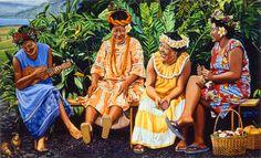 Talking Story by the artist, Tabora. Talk Story is what Hawaii calls conversation. Hawaiian Woman, Hawaiian Tribal, Hawaiian Art, Polynesian Art, Polynesian Culture, Artistic Visions, Tropical Art, Tropical Paintings, Caribbean Art