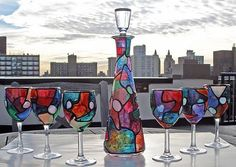 stained glass wine bottle   Wine Decanter with Topper & 6 glasses - by Diane G. Casey from Glass ...