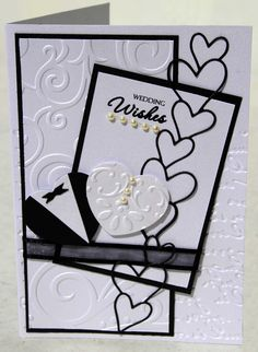 Wedding Card made with Memory Box Diecut, SU Embossing Folders & Creative Memories Heart Punch