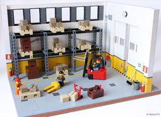 https://flic.kr/p/KRLUVq | Warehouse life | Recently I've visited a warehouse and I was stricken by the layout.  Here my warehouse diorama complete with pallets, boxes, shelves, hand pallet truck and a fork-lift. Thanks for stopping by.   LEGO Ideas | Facebook | Instagram