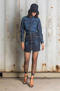 Mini skirt accented with exposed zipper. Stonewashed stretch denim for a comfortable fit. Slim Fit Skirts, Stretch Denim, Fall Winter, Mini Skirts, Zipper, Fitness, Jackets, Fashion, Down Jackets