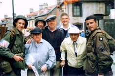 "Babe Heffron and Bill Guarnere on set with Robin Laing, Donnie Wahlberg and Frank John Hughes <3 ""I can't say enough about the actors in Band of Brothers. They had the utmost respect for the men, they were dedicated, and they did it the way it was supposed to be done"" - Babe talking about the cast p.269 Brothers in Battle-Best of Friends by Bill Guarnere/Babe Heffron"