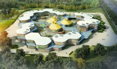Guan Governmental Kindergarten contains 30 classes with overall 800 children from age The concept was setup by a basic hexagon/honeycomb shaped classroom modules which are then aggregated into… Kindergarten Architecture, Classroom Architecture, Kindergarten Design, Kindergarten Lesson Plans, Education Architecture, School Architecture, Module Architecture, Concept Architecture, Landscape Architecture