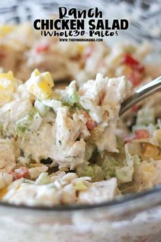 Paleo ranch chicken salad recipe! This is my husband's favorite thing we ate on Whole30!  It is great on an avocado, in mini peppers, or if you aren't on whole30 then eat it on toast or a croissant! It is a bonus that it is naturally gluten free, dairy free, low carb, and paleo + whole30 compliant!