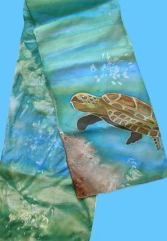 Susan Sieber - sea turtle silk scarf.  Handpainted on silk with Setasilk paints.