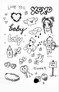 Mini Drawings, Cute Little Drawings, Doodle Drawings, Cute Tiny Tattoos, Mini Tattoos, Body Art Tattoos, Tattoo Sketches, Tattoo Drawings, Stick Poke Tattoo
