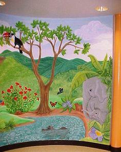 Elephant/jungle mural for nursery