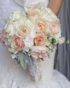 wedding bouquet flowers, white peach wedding bouquet, bridal bouquet, add pic source on comment and we will update it. www.myfloweraffair.com