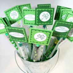 St Patrick's Day Pencil Treat Bags and Toppers