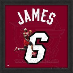 Lebron James, Heat photographic representation of the player's jersey Framed Memorabilia