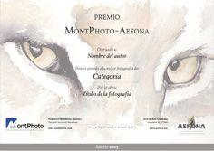 Diploma de los premios MontPhoto-AEFONA otorgados en 2013 y 2014. Me encargué del diseño del diploma y la coordinación con MontPhoto.