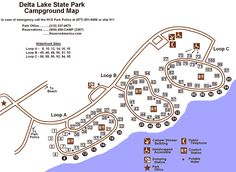 Campsite Photo Database for Delta Lake State Park. Features 802 campsite photos and 101 individual campsites, with multiple photos / pictures for each individual site, to assist you in evaluating individual campsites before you book a campsite.