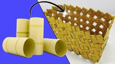 Basket with tubes of toilet paper  (Recycle) Ecobrisa DIY Toilet Paper Roll Diy, Toilet Paper Roll Crafts, Cardboard Crafts, Recycled Crafts Kids, Diy And Crafts, Origami, Rolled Paper Art, Diy Papier, Paper Basket