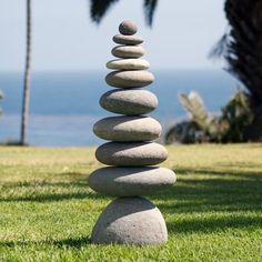 """11 part large river rocks stacked with metal rod support in middle. Size: Approx. 11"""" x 6.5"""" x 28""""H Weight: 70-75 lbs."""