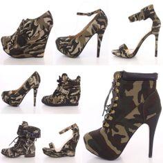 Camo boots and heels Camo Heels, Camo Boots, Shoes Heels, Camo Fashion, Fashion Heels, Cute Shoes, Me Too Shoes, Sneaker Heels, Wedge Sneakers