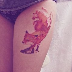 Watercolor fox tattoo... in the place I want it, too