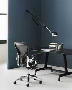 Dark teal walls and black desk, chair and lamp Cheap Chairs, Cool Chairs, Herman Miller, Industrial Home Offices, Accent Chairs For Sale, Interior Design London, Industrial Dining Chairs, Teal Walls, Home Office Design
