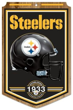 "Pittsburgh Steelers Wood Sign - 11""""x17"""" Established Design"