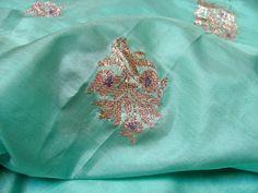 Aquamarine Silk Sari Fabric with Pink Metallic Embroidery