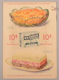 JELL-O Ice Cream Powder Advertising Lithograph Recipe Book, circa. Depicting a child eating vanilla ice cr. on Jun 2013 Neapolitan Ice Cream, Ice Cream Man, Vintage Ice Cream, Jello Molds, Cream Soda, Soda Fountain, Botanical Prints, Sweet Treats, Powder