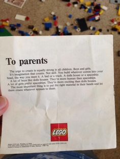 A picture of a letter to parents from a box of Lego in the 1970s is going viral after being uploaded to Reddit. | This Letter To Parents From A 1970s Lego Set Contains An Important Message For Gender Equality