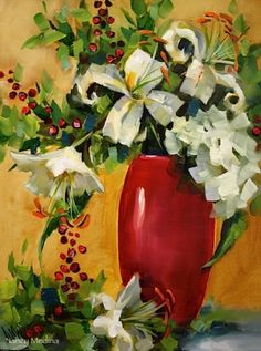 Shades of White Lilies and Red Berries by Texas Flower Artist Nancy Medina, painting by artist Nancy Medina