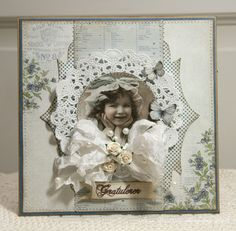A card, featuring the Play Time collection and vintage image from Grandma's Attic ~ tinted