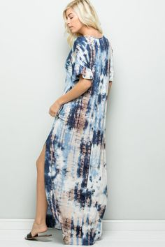 Details Tie-dyed jersey maxi dress V-neck Ruffle sleeve side pockets full-length skirt Side open slit Model is and wearing size small Length: HPS (measurements taken from Small ) Size Small Medium Large X-Large Modest Dresses, Casual Dresses, Full Length Skirts, Dresses To Wear To A Wedding, Pattern Mixing, Tie Dyed, Plaid Pattern, Ruffle Sleeve, Tie Dye Skirt