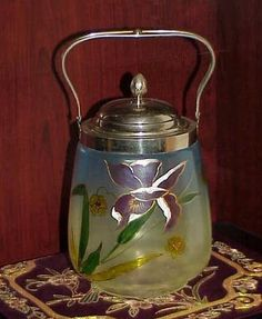 Fabulous Victorian Enameled Art Glass Biscuit Jar with Iris Design | eBay