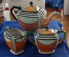 True ART DECO 1920s era NORITAKE 3-piece - Pot, Creamer & Sugar Bowl - Tea Set