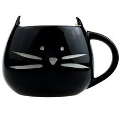 Taza De Ceramica Forma Cara Gato Gatito Bigotes Negro H1212 - $ 89.00