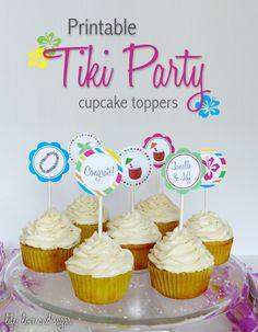 free printable tiki party cupcake toppers