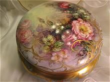 Truly Magnificent Porcelain Art Treasure ~ Gorgeous Creme De La Creme Jewel Box Powder Dresser Jar with Breathtaking One-of-a-Kind Hand Painted Roses ~ Master Porcelain Artist Signed Elegant Victorian Lady's Heirloom Fina China Painting