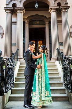 sea green wedding reception dress | indian wedding inspiration