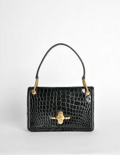 Hermes Vintage 1960s Black Crocodile Skin Handbag - Amarcord Vintage Fashion