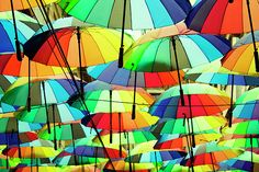 Roof made from colorful umbrellas