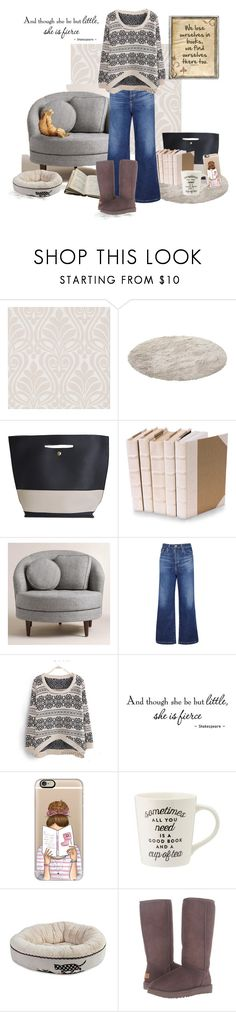 """""""Getting Lost in a Book"""" by love-n-laughter ❤ liked on Polyvore featuring Brewster Home Fashions, Decorative Leather Books, Cost Plus World Market, AG Adriano Goldschmied, WALL, Casetify, Polaroid and UGG"""