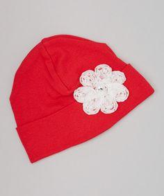 Loving this Red & White Pearl Flower Beanie on #zulily! #zulilyfinds