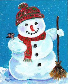 Snowman Winter Season Bird Christmas Present Ready To Hang Art Original Acrylic Painting By Ebsq Artist Ricky Martin - Painting Winter Painting, Winter Art, Painting For Kids, Painting Canvas, Acrylic Paintings, Christmas Paintings On Canvas, Christmas Canvas, Christmas Rock, Christmas Decor