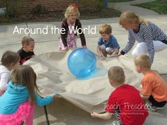 "We took our Earth day ball outdoors on a bright and sunny day and played a game called, ""Around the World!"""
