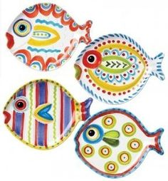 Fish-Fish Assorted Fish Shaped Plate Set of 4 by Vietri Pottery Painting, Ceramic Painting, Ceramic Artists, Nautical Theme Decor, Coastal Decor, Coastal Style, Fish Art, Fish Fish, Paint Your Own Pottery