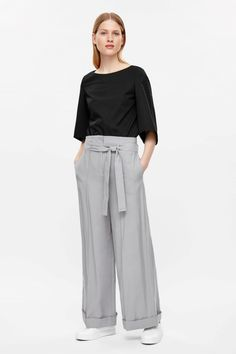 COS image 1 of Belted high-waist trousers in Grey. Debbie: I like these…