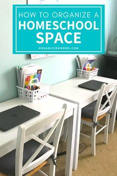 Setting up a Homeschool Room Ideas and Tips. Homeschool room organizing ideas to help you get organized for teaching and learning. Homeschool room setup, and organization ideas to help you plan a safe, comfortable and effective learning space for kids from kindergarten to older kids. Home Learning, Learning Spaces, Learning Stations, Fun Learning, School Organization, Organization Ideas, Bedroom Organization, Learning Organization, Pegboard Organization