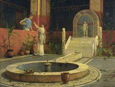 Roman house courtyard, by Luigi Bazzani