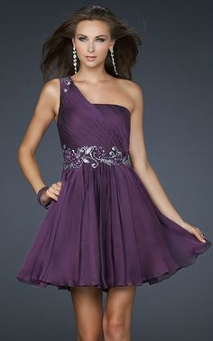 One Shoulder Appliques Ruched Sleeveless Short Empire Lovely Purple Prom Dress And Gowns,Fashion prom dresses, short prom dresses, short party dresses - Prom Dresses 2012_Plus Size Prom Dress_Plus Size Wedding Dress-TesBuy.com