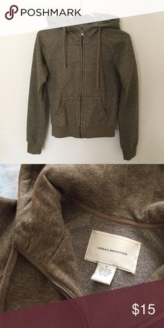 Cozy olive zip up hoodie Sz small. Super soft hoodie! In perfect condition no flaws Jackets & Coats